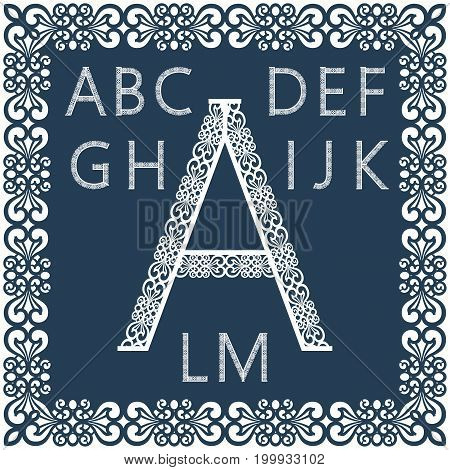 Templates for cutting out letters. Full English alphabet. May be used for laser cutting. Fancy lace letters. Font isolated blue background. A set of symbols in a lacy frame. Part 1. Vector.