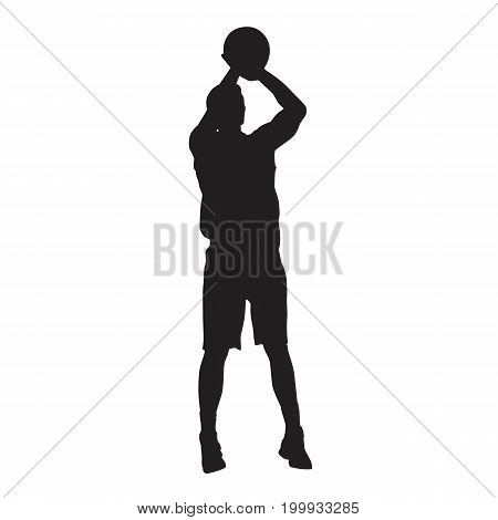 Basketball player jumping and shooting ball. Vector silhouette