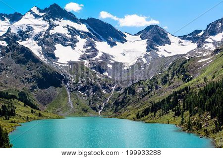 Beautiful Mountain Lake With Turquoise Multinskoe