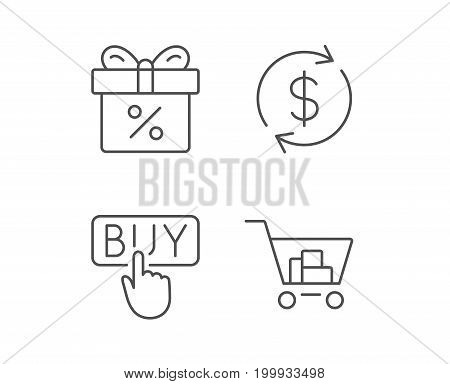Shopping cart, Discount Box and Sale icons. Buy button and Update currency symbol. Online buying. Quality design elements. Editable stroke. Vector
