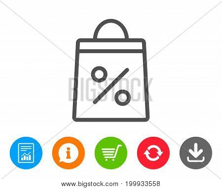 Shopping bag with Percentage line icon. Supermarket buying sign. Sale and Discounts symbol. Report, Information and Refresh line signs. Shopping cart and Download icons. Editable stroke. Vector