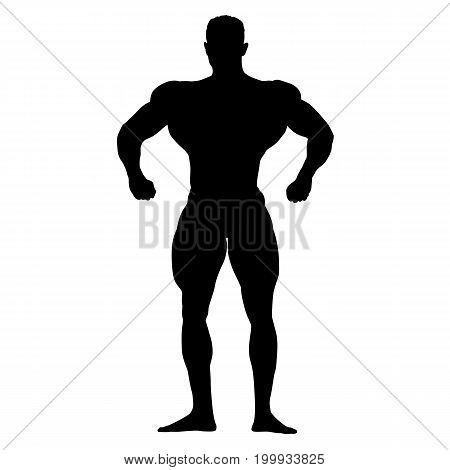 Bodybuilder standing and posing, isolated vector silhouette. Man with big muscles