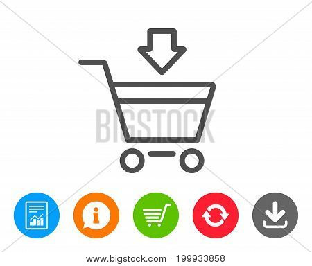 Add to Shopping cart line icon. Online buying sign. Supermarket basket symbol. Report, Information and Refresh line signs. Shopping cart and Download icons. Editable stroke. Vector