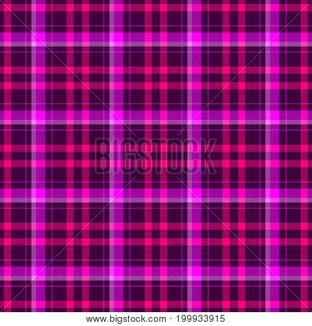 check diamond tartan plaid scotch fabric seamless pattern texture background - dark purple hot pink and magenta color