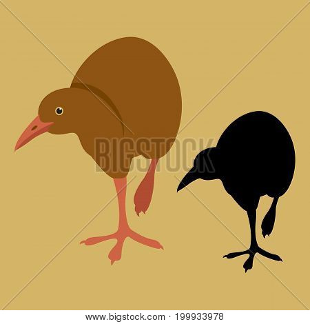 weka bird vector illustration flat style black silhouette