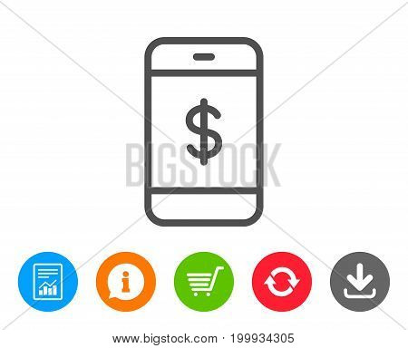 Mobile Shopping line icon. Smartphone Online buying sign. Dollar symbol. Report, Information and Refresh line signs. Shopping cart and Download icons. Editable stroke. Vector