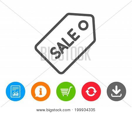 Shopping tag line icon. Sale Special offer sign. Coupon symbol. Report, Information and Refresh line signs. Shopping cart and Download icons. Editable stroke. Vector