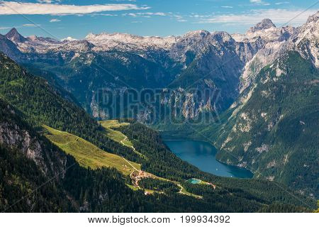 Beautiful summer landscape Berchtesgarden aerial view from Kehlsteinhaus Germany