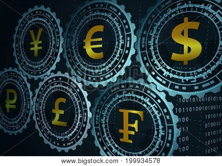 Background with currency symbols.Concept of global trade.
