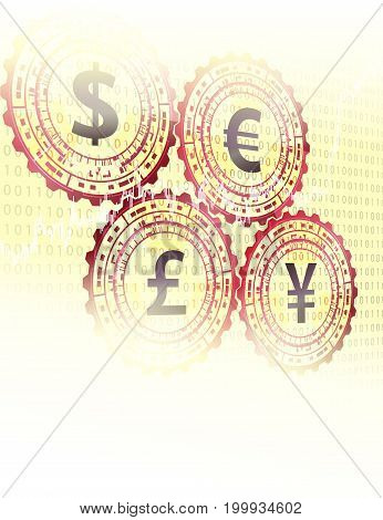 Financial background with currency symbols and space for text.
