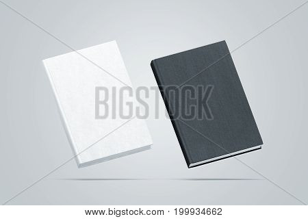 Blank black and white hardcover books mock up set no gravity view 3d rendering. Empty notebook cover mockups isolated. Bookstore branding template. Plain textbook with clear binding.