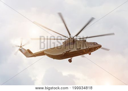 Large Transport Cargo Helicopter Is Flying In The Sky