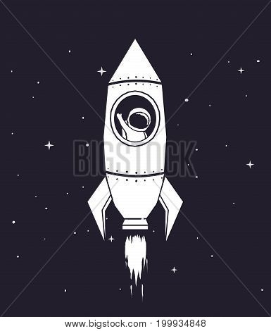 Spaceman flying in rocket to outer space.Cosmic personage .Childish vector illustration