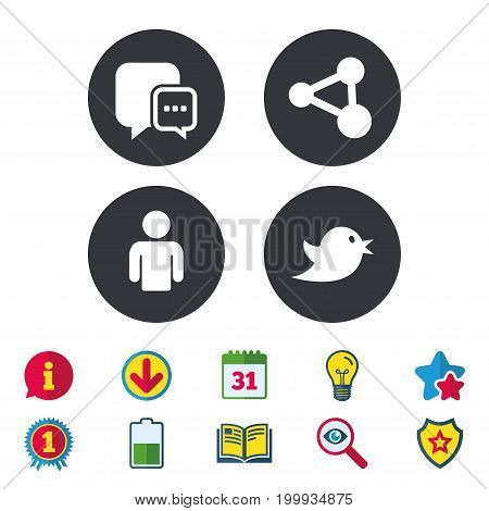 Social media icons. Chat speech bubble and Share link symbols. Bird sign. Human person profile. Calendar, Information and Download signs. Stars, Award and Book icons. Light bulb, Shield and Search