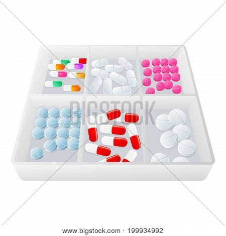 Vector plastic transparent container full of pills, capsules flat cartoon illustration isolated on a white background. Cold and flu treatment concept, medicine and drugs. Cartoon illness therapy tools