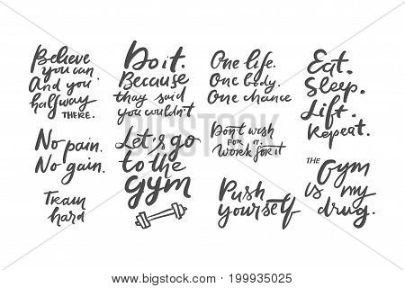 Quotes for fitness, gym. Hand lettering and custom typography for t-shirts, bags, for posters, invitations