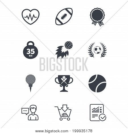 Sport games, fitness icons. Football, golf and baseball signs. Heartbeat, rugby and laurel wreath symbols. Customer service, Shopping cart and Report line signs. Online shopping and Statistics. Vector