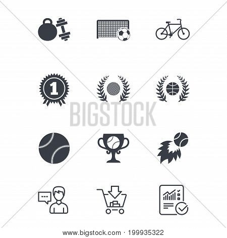 Sport games, fitness icons. Football, basketball and tennis signs. Golf, bike and winner medal symbols. Customer service, Shopping cart and Report line signs. Online shopping and Statistics. Vector