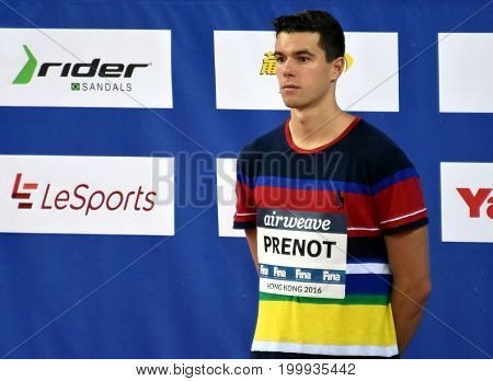 Hong Kong China - Oct 30 2016. PRENOT Josh (USA) at the Victory Ceremony of the Men's Individual Medley 200m. FINA Swimming World Cup Victoria Park Swimming Pool.