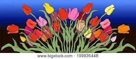 Illustration of living stylized tulips against the background of the evening sky