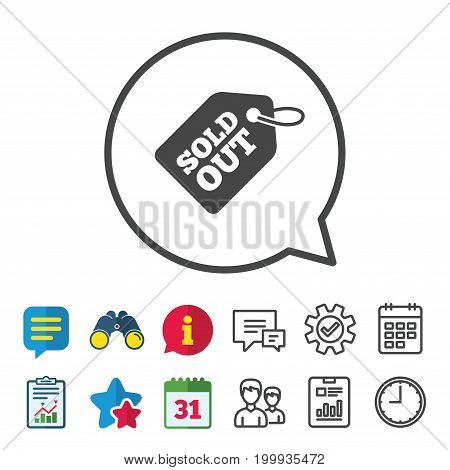 Sold out tag icon. Shopping message sign. Special offer banner symbol. Information, Report and Calendar signs. Group, Service and Chat line icons. Vector