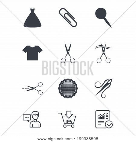 Tailor, sewing and embroidery icons. Scissors, safety pin and needle signs. Shirt and dress symbols. Customer service, Shopping cart and Report line signs. Online shopping and Statistics. Vector