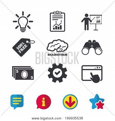 Presentation billboard, brainstorm icons. Cash money and lamp idea signs. Man standing with pointer. Scheme and Diagram symbol. Browser window, Report and Service signs. Vector