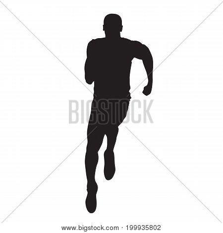 Sprinting athlete vector silhouette. Running man front view