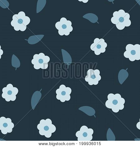 Randomly scattered flowers and leaves. Seamless floral pattern. Drawn by hand. Shades of blue. Vector illustration.