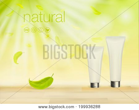 Vector 3D illustration with green cosmetic product ads, makeup template, skin and body care cream blank package against nature background