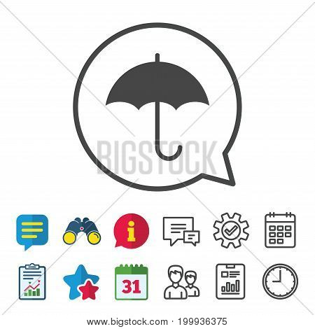 Umbrella sign icon. Rain protection symbol. Information, Report and Calendar signs. Group, Service and Chat line icons. Vector