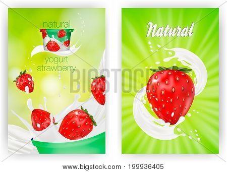 Milk ad or 3d strawberry yogurt flavour promotion set. milk splash with fruits isolated on green nature background. instant oatmeal advertising, open field background, 3d illustration.