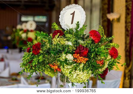 table decoration flowers bouquet on the table