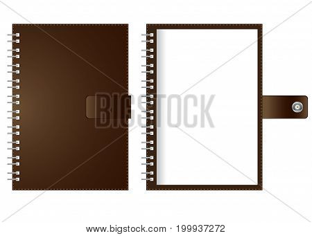 Open spiral notebook white paper isolated on white background.