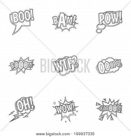 Slang icons set. Outline set of 9 slang vector icons for web isolated on white background