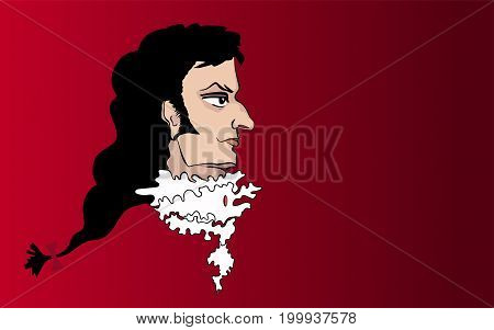 Vector portrait of an aristocrat of the Baroque era on a red background