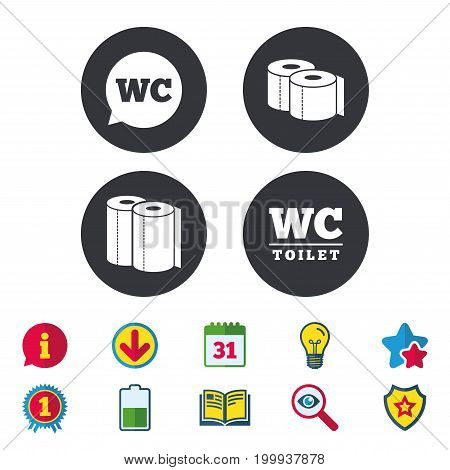 Toilet paper icons. Gents and ladies room signs. Paper towel or kitchen roll. Speech bubble symbol. Calendar, Information and Download signs. Stars, Award and Book icons. Light bulb, Shield and Search