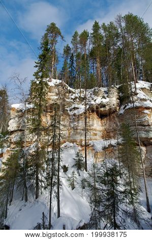 Formations caused by karst with winter taiga forest. Arhangelsk region. Russia