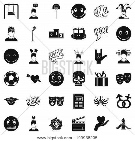 Emotion icons set. Simple style of 36 emotion vector icons for web isolated on white background