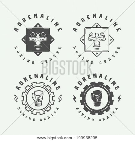 Set of retro boxing and martial arts logo badges and labels in vintage style. Monochrome graphic Art. Vector Illustration.