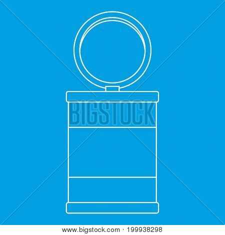 Trash can icon blue outline style isolated vector illustration. Thin line sign