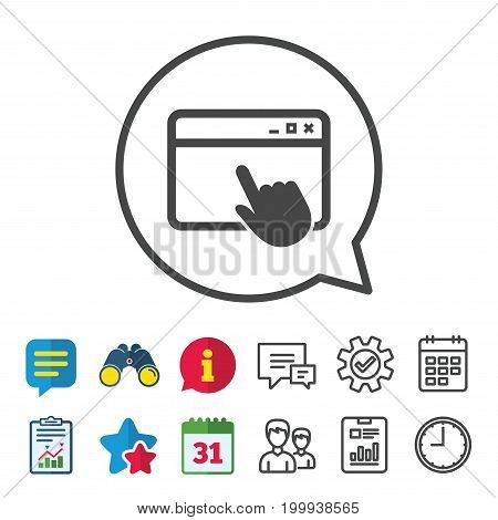 Click page icon. Browser window symbol. Website or internet sign. Information, Report and Calendar signs. Group, Service and Chat line icons. Vector