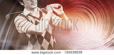 Golfer holding his club on shoulder  against futuristic shiny spiral on black background