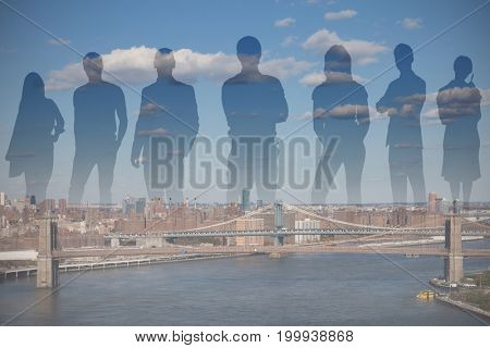 Illustrative image of business people against high angle view of bridge in city