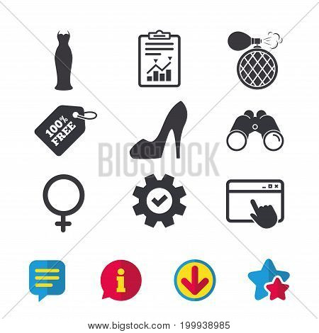 Wedding dress icon. Women shoe sign. Perfume glamour fragrance symbol. Browser window, Report and Service signs. Binoculars, Information and Download icons. Stars and Chat. Vector