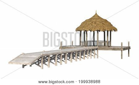 3D Rendering Beach Pavillion On White