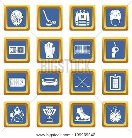 Hockey icons set in blue color isolated vector illustration for web and any design