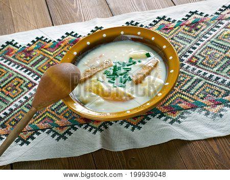 hungarina potato soup Krumplileves, close up meal
