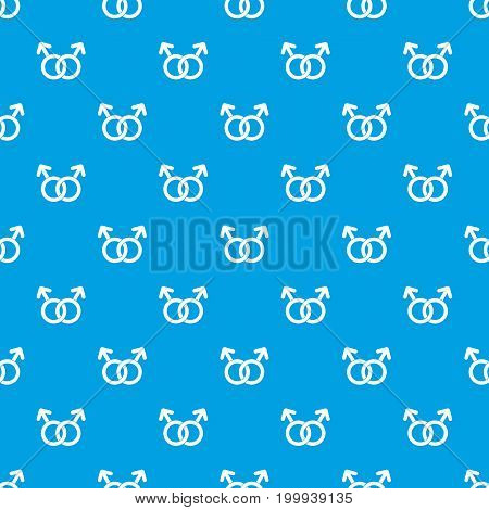 Gay love sign pattern repeat seamless in blue color for any design. Vector geometric illustration