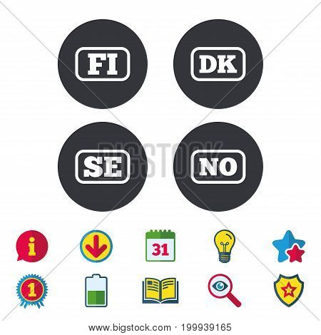 Language icons. FI, DK, SE and NO translation symbols. Finland, Denmark, Sweden and Norwegian languages. Calendar, Information and Download signs. Stars, Award and Book icons. Vector